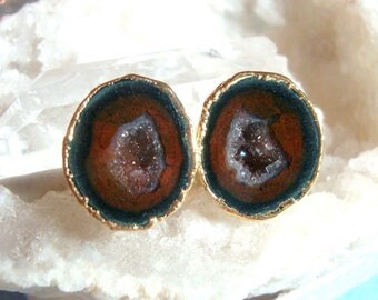 Geode Halves Gold Ear Stud, Natural Mexican Tobasco Agate Half Geode Earrings, M2