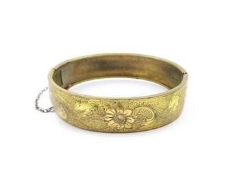 Victorian Revival Gold Filled Floral Bangle Bracelet - Art Deco, Gold Bangle, Vintage Bracelet, Vintage Bangle, Hinged Bangle