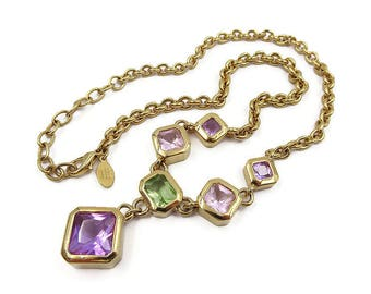 Nolan Miller Gold Plated Crystal Drop Necklace - Multi Stone, Vintage Necklace, Vintage Jewelry