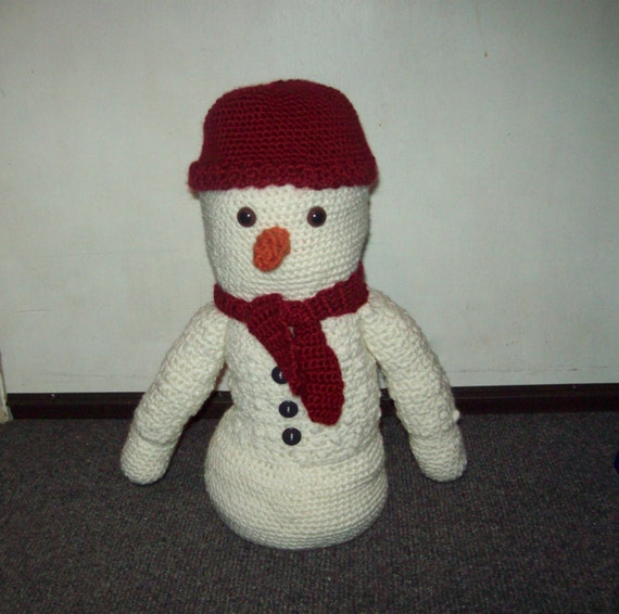 Crochet Snowman With Hat And Scarf 14 inch Amigurumi Snowman