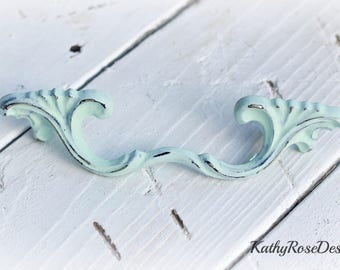 "dresser pull, vintage  3"" shabby chic danity metal  french provencial teal pink seafoam green white black"