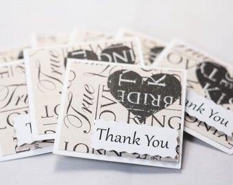 Small Wedding Thank You Cards - Set of 5 - Bridesmaid Thank You Notes - Small Maid of Honour Thank You Note001
