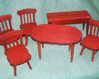 Doll House Furniture, Red Stained Wood, Three Quarter Inch Scale