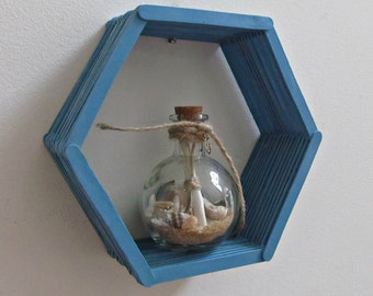 Blue Honeycomb Shelf - Teal Blue Hexagon Popsicle Stick Shelf