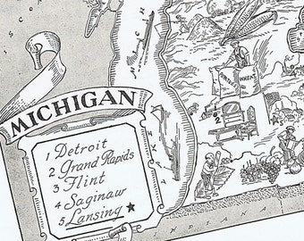 MAP of MICHIGAN Vintage, Adorable, Beautifully Illustrated, Perfect for Framing, Detroit, Motor City, Lansing, Grand Rapids, Flint, Atlas