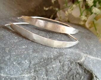 Modern Silver Hoop earrings, 'Arch' rustic minimalist earrings, lightweight earrings, available in 3 sizes, reclaimed sterling modern hoops