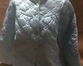Quilted Bed Jacket Size Medium New Aqua Nylon Lingere Mandarin Neck with Ruffle by Shadow Line