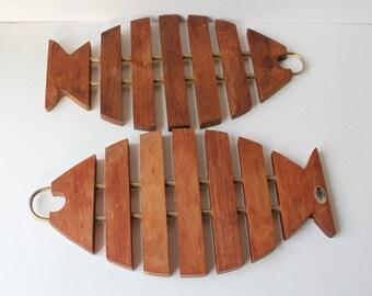 Vintage Pair of Fish Teak Trivet, Made in Denmark, Danish Modern, Mid Century Modern