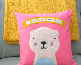 Polar Bear Pillow - Pillow Cover - Valentines Day - Decorative Pillow - Nursery Decor - Baby Pillow - I Love You Beary Much