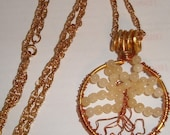 Cyber Sale Tree of Life, Goldtone with Round Gemstone Beads, Trees, Tree of Life Pendant