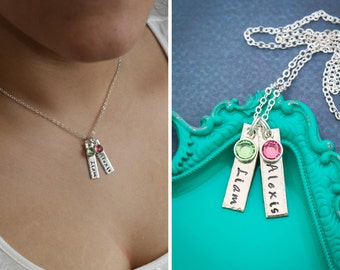 Childrens Name Bar Necklace Mom Gift Mother Bar Handstamped Name Necklace • Birthstone Kids Gift New Mom Birthday Wife Short Tag