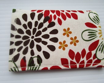 Multi Petal Paisley Print Credit Card Wallet, Business Card Holder, Vera Bradley Inspired Fabric Wallet, Gift Card Holder