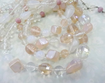 Vintage Shabby Sweet Cluster Glass  Beaded Multistrand Necklace Shades of  PINK Japan Costume Jewelry
