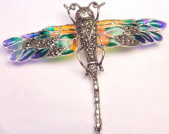 Vintage Dragonfly Brooch, Sterling Silver,  Flying Insect, Blue,Green,Yellow, Golden Brown, Marcasite, Ruby Eyes, Stamped,Pristine Condition