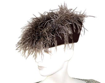 Vintage Mr. Charles Felted Wool Chocolate Brown Toque Hat with Ostrich Plumes, Sculpted Hat