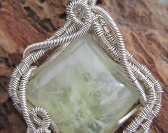 Love Abounds/ Prehnite and Sterling Silver Pendent