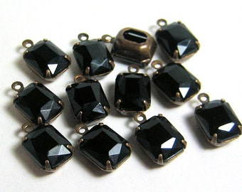 10x8 Czech Black Glass Octagons in Brass 1 Ring Patina Settings Quantity 12