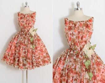 Vintage 50s Dress   1950s dress   orange rose print chiffon   medium m   5853