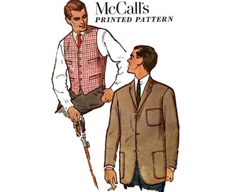 McCall's 5051 Mens Retro Blazer & Waistcoat / Vest 50s Vintage Sewing Pattern Size Chest 40 inches