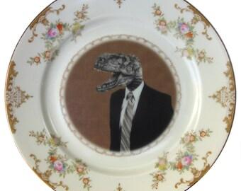 """Mr. T. Rex - Altered Vintage Plate 7.75"""""""