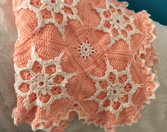 Crocheted Blanket Peach with Cream Snowflakes - Made Fresh after Sale