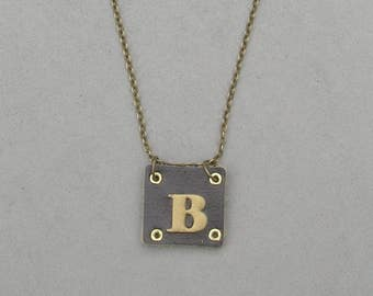 Square Leather B Necklace