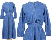 Victorian Edwardian Blue Calico Day Dress, Antique Work Dress, 1800s 1900s Work Wear