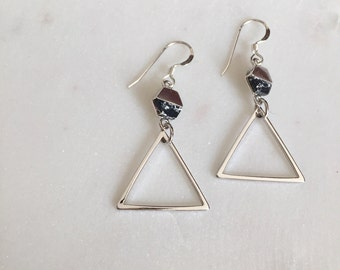 Marble Earrings, Geometric Earrings, Silver Earrings, Black Marble, Holiday Gift, Handmade