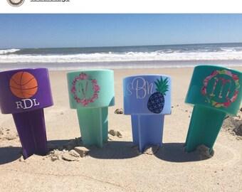 Monogrammed Beach Sand Spike Beach Sand Spiker Beach Cup Holder Sand Cup Holder Personalized Sand Spiker Beach Gift Girls Trip Beach Gift