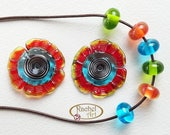 Lampwork Flowers Glass Beads, FREE SHIPPING, Set of Handmade Artisan Lampwork Glass Disc Beads and Spacers