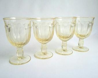 "Vintage 1970s Yellow Noritake ""Provincial"" Glassware Set of Four"