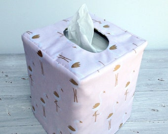 Pink and gold flamingo /chevron tissue box cover