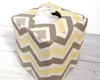 Gray and yellow chevron  reversible tissue box cover
