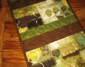 Contemporary Table Runner, Green Gold Brown Leaves, Reversible Runner 100% Cotton Fabrics 13.5 x 56""