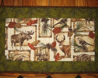 "Moose Deer Bird Pine Cones Leaves Rustic Cabin Quilted Table Topper, Reversible, 26 x 15"", 100% cotton fabrics"
