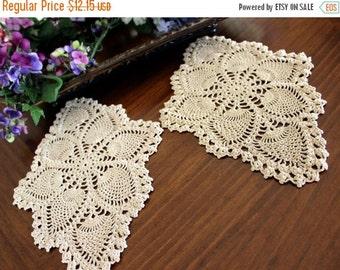 2 Ecru Vintage Doilies, Crochet Pineapple Doily Pair, Hand Made 13429
