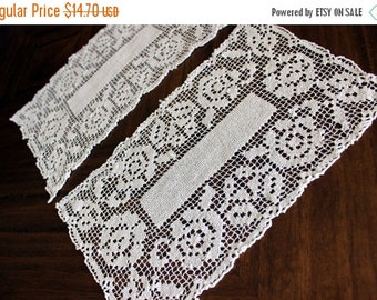 Vintage Filet Lace, 2 Doilies in Light Grey Shade, Handmade Lace 13738