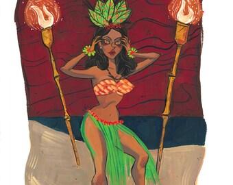 Evil Tiki God Hula Print