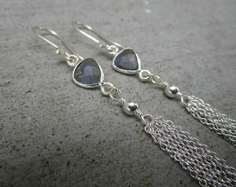 Long Triangle Labradorite Gemstone Tassel Earrings