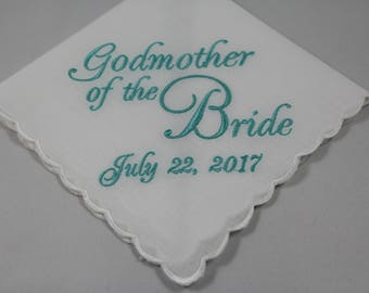 Personalized - Godmother of the Bride - Embroidered - Wedding Handkerchief - Wedding Gift - Keepsake - Lace Hanky - Simply Sweet Hankies