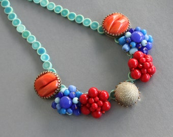 Color me Pretty Statement Necklace from Vintage Glass Earrings