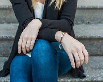 Leather Bracelet, Multi Strand Bracelet, Swarovski Crystal Jewelry
