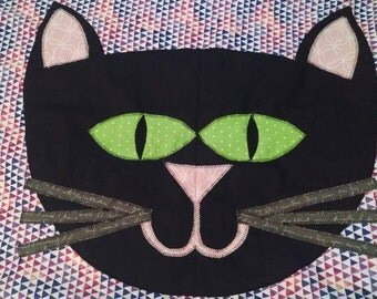 Kitty Cat Pillow Case, Cat Bedding,  Standard Size, You Choose the Colors, Made to Order