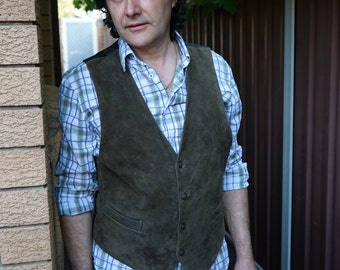 Vintage Country Style Dark Olive Green Suede Vest Pocket Waistcoat