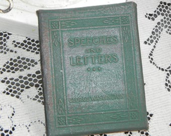 Antique Little Leather Library Book~Speeches and Letters~George Washington