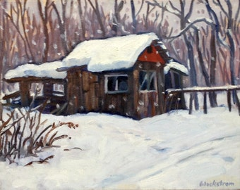 Little Shed, Big Snow. 14x18 Oil Painting Landscape on Canvas, Winter Plein Air American Impressionist Fine Art, Signed Original Artwork