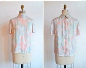 30% OFF storewide // SALE / Vintage 1960s SILK printed blouse