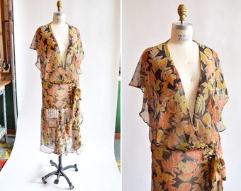 Vintage 1930s SILK chiffon tea dress