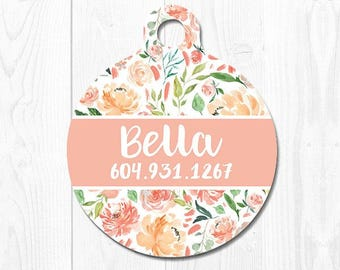 Custom Dog Tags for Dogs Dog Tag Cat Tag Pet ID Dog ID Tag Pet Tags Pet ID Tag Peach Floral Pet id Tags Pink Custom Dog Tag Cute Dog Tag
