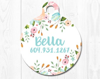 Cat Tag Pet ID Dog Tags Personalized Dog Tag for Dogs Dog ID Tags Pet Tag Pet Id Tag Pet id Tags for Dog Tag ID Cat id Tag Pink Floral